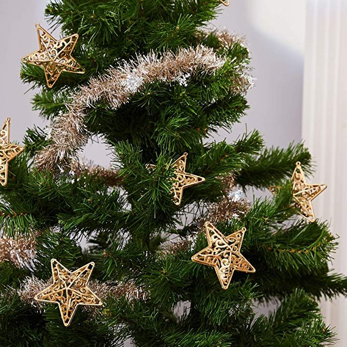 Amazon Com Juvale 12 Pack Christmas Tree Ornaments Metallic Gold Classic Christmas Decorations Christmas Star Decorations Christmas Decorations For The Home