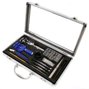 Paylak TS9004 Watch Repair Band Sizing Tools Watch Repair Kit Paylak. $59.95. Tools to open most waterproof watch cases-case opener, knife. Tool set comes in compact aluminum storage case. Set includes tools used to adjust watch bands and straps. Watch tool kit- screwdrivers, removers, pin pusher, openers, spring bar assortment. Quality made tools used to change watch batteries
