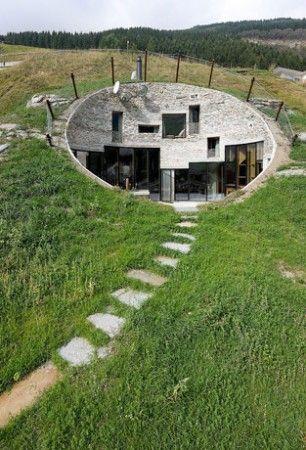 The Villa Vals, dug into a hillside in the Swiss alps.
