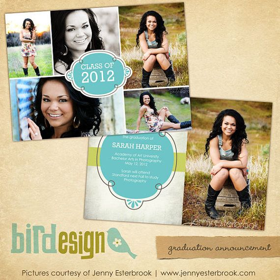 Instant download graduation announcement photoshop for Free senior templates for photoshop