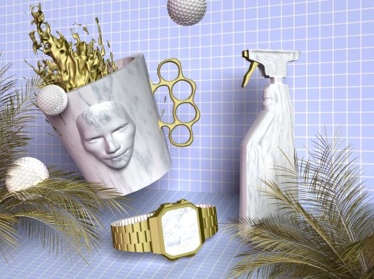 #stillife #prettyugly #3D #design #free #stock #grid #casio #duster #marble #chips #relation #ralationchips #goldenshower