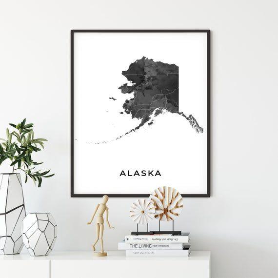 Alaska Map Art Poster Black And White Wall Art Print Of Etsy Black And White Wall Art Map Art Poster Art