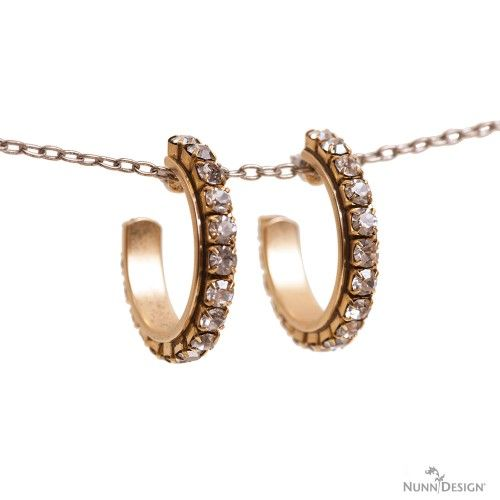 Nunn Design Channel Earrings with Rhinestone Chain and Crystal Clay.