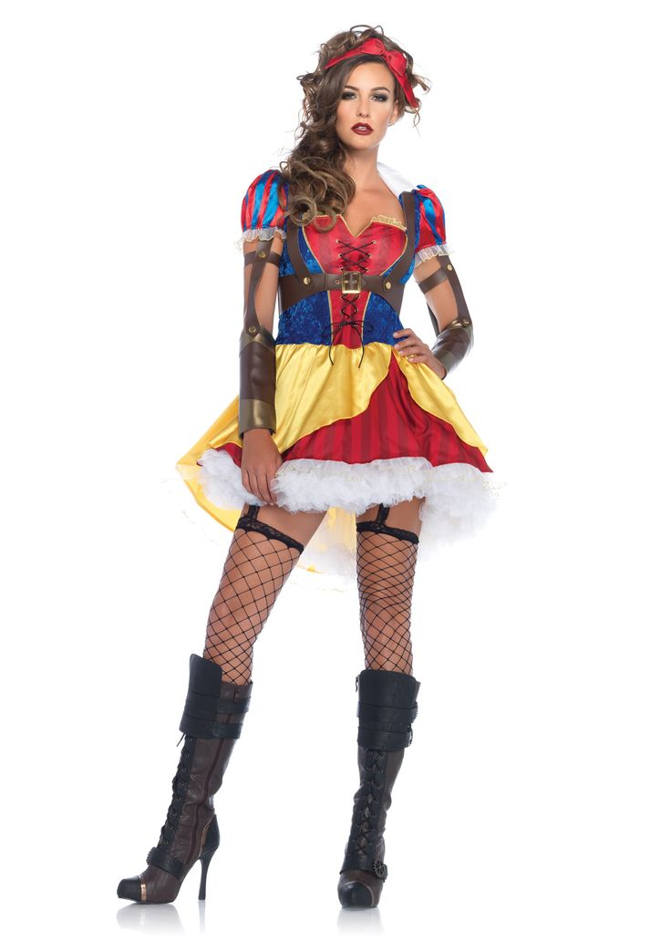 Snow White has a new look! This costume comes with the dress (with attached cufflinks), harness, and matching headband. Check out Stagecoach for fishnet panythose. If you like the rebel look, make sur