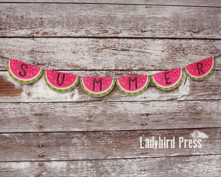Printable Summer Banner - Watermelon - Family reunion - Summer Decor - Summer Party - Instant Download - PDF by LadybirdPress on Etsy https://www.etsy.com/listing/241214605/printable-summer-banner-watermelon