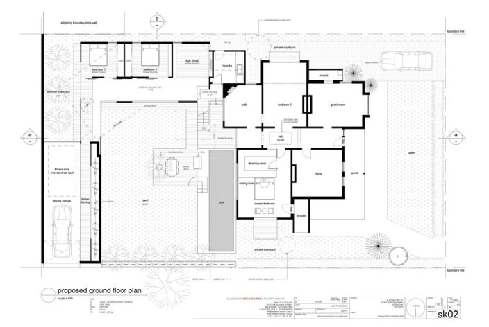 Reid house, proposed ground floor plan.  Standard text and drawing style, contrasting with sketch and digram style.   http://www.maynardarchitects.com/Site/houses/Pages/Reid_House.html#0
