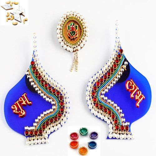 Blue Paan Shubh Labh with Diyas and Kaju Katli - Online Shopping for Diwali Pooja Accessories by Ghasitaram Gifts