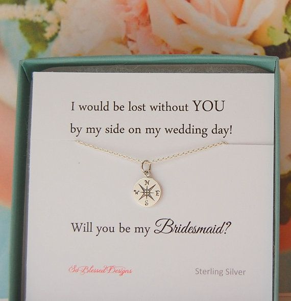 Asking For Gifts On Wedding Invitations: Bridesmaid Jewelry, Asking Bridesmaids, Compass Necklace