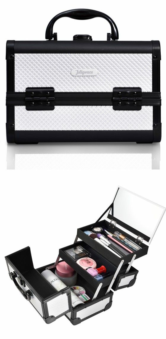 Silver Diamond Professional Makeup Train Case with Mirror--Joligrace Travel makeup case with mirror Artis makeup case Makeup vanity with storage Makeup organizer with mirror Best makeup case Big makeup case Cheap makeup organizer Cosmetic train case Makeup case with brush holder Makeup organizer with drawers Makeup case with lock Makeup artist train case Portable makeup case