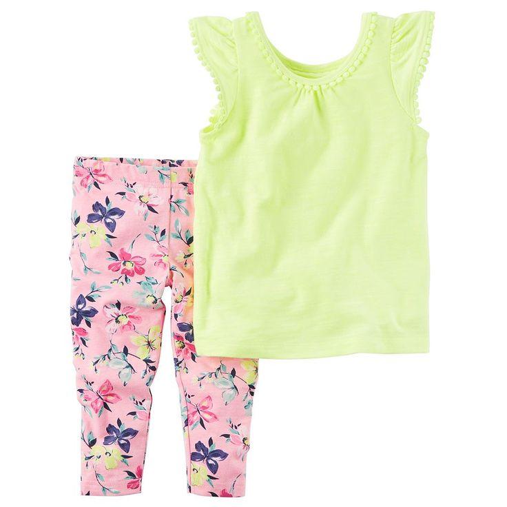 Toddler Girl Carter's Pom-Pom Neon Top & Floral Capri Leggings Set, Size: 2T, Yellow