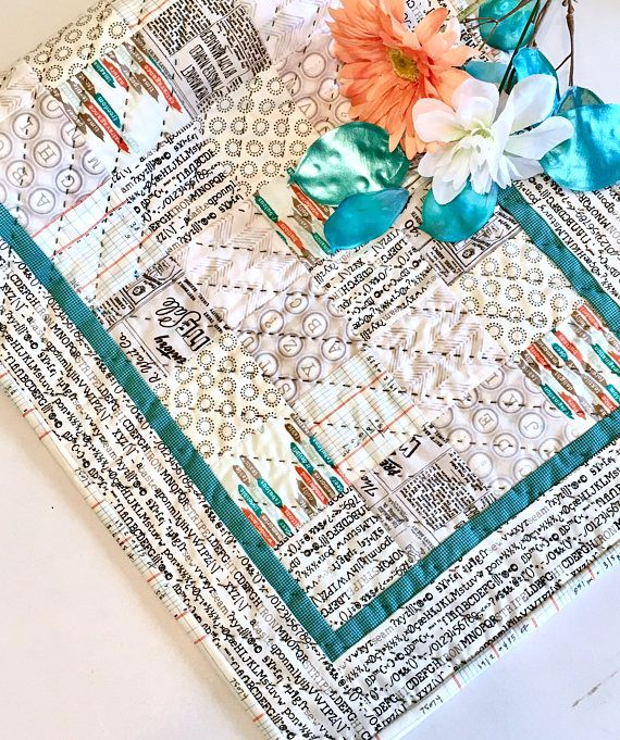 INDUSTRIAL TABLE RUNNER Quilt Top, Teal Blue, Words, Text, Numbers, Printing, Vintage, Typewriter, Newspaper,  Urban Decor, Table Linens