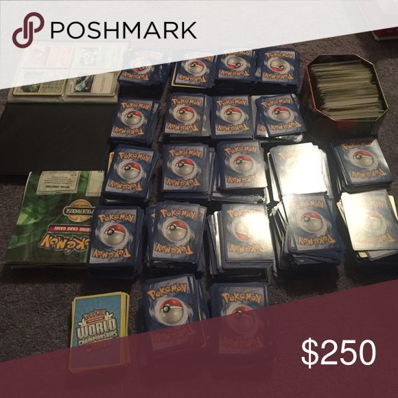 OVER 2000 POKÉMON CARDS I don't know much about these honestly trying to sell them for someone else! There is a few cards that are messed up but not many. Around 2200 or more cards. No I won't take pictures of every card I'm sorry I don't have time. All I know is there is some holo cards,some rare cards and original cards all the way up to 2011. The tin won't be included. Open to offers Other