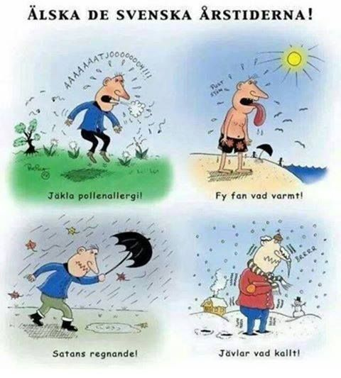 Hahaha Love the Swedish seasons! - Damn pollen allergy! - So freaking hot! - Damn rain! - Too freakin' cold!