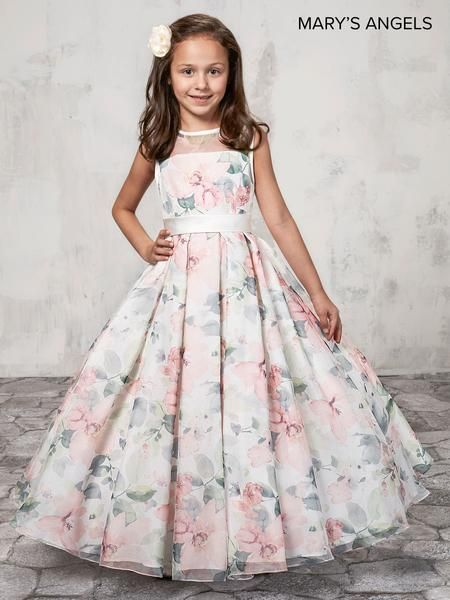 4b3c1a429 Pink floral print organza flower girl ball gown features scoop neckline,  sheer yoke, satin belt, long pleated A-line skirt, and back with zipper and  button ...