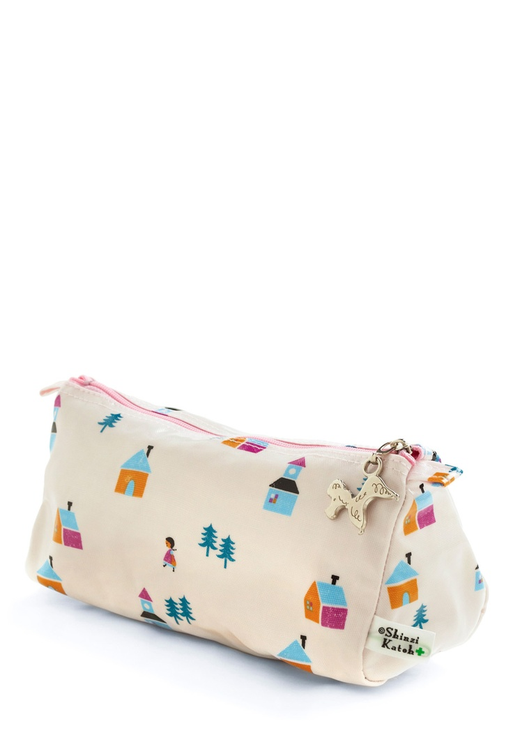 Little boxes, on a hillside ... Acre Pouch with (sigh) Shinzi Katoh print.: Bath Decor, Bags Illustrations, Shops, Katoh Pur, Vintage Bags, Shinzi Katoh, Mod Retro, Fabrics Stamps, Bitty Bags