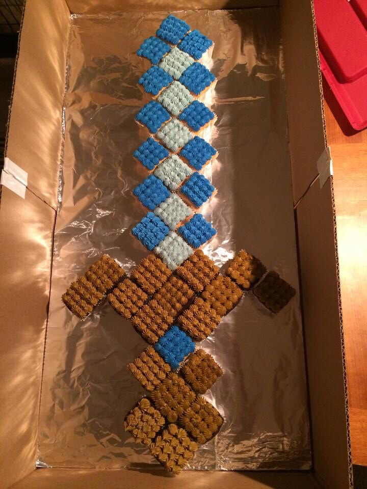 Minecraft Sword cupcake cake | My Baked Goods | Pinterest ...