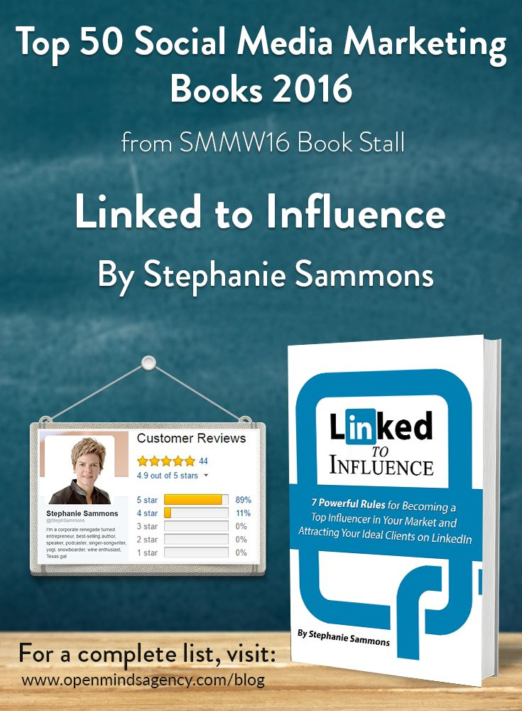 Top 50 Social Media Marketing Books 2016 - from SMMW16 Book Stall  Linked to Influence - Stephanie Sammons   For the complete list visit, [Click on image]   #omagency #smmw16 #books #stephaniesammons