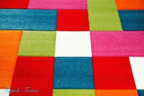 Traum - Tappeto per stanza dei bambini, motivo: quadrati, colore: Verde/Rosso/Grigio/Nero/Panna/Rosa 200 x 290 cm Verde rosso grigio nero crema rosa: Amazon.it: Casa e cucina