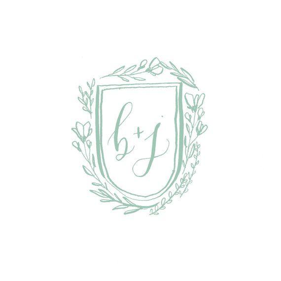 Custom Calligraphy Wedding Crest / Monogram  by OliveBranchandCo