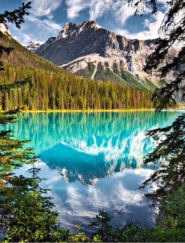 Emerald Peak reflecting in Emerald Lake, Yoho National Park, British Columbia Canada