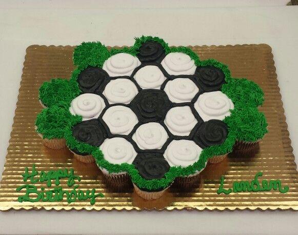 Soccer ball Cupcake Cake
