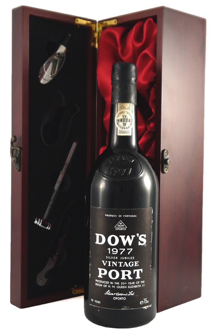 "1977 Dow #Vintage #Port Silver #Jubilee  'still a baby, is fabulously scented, very rich and concentrated, and has a potential longevity of at least another 30-50 years.""  http://www.vintageportgifts.co.uk/acatalog/Port_under_149_99.html"