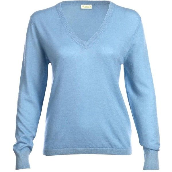 Asneh - Blue Mathilda V-neck Cashmere Sweater ($210) ❤ liked on Polyvore featuring tops, sweaters, folding sleeves shirt, shirt sweater, layering shirts, blue cashmere sweater and folding shirts