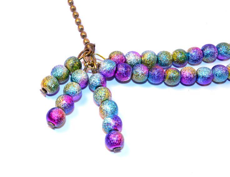 "Collier Multi Rangs ""My Galaxy"" Bronze, Perles Stardust Multicolores : Collier par oranjine"
