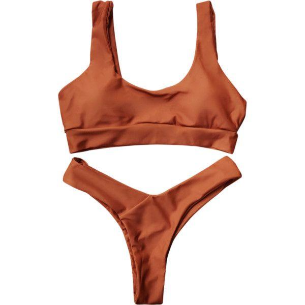 U Neck Bralette Thong Bikini Set Brown ($14) ❤ liked on Polyvore featuring intimates, panties, string bikini, g string bikini, thong bikinis and gstring bikini