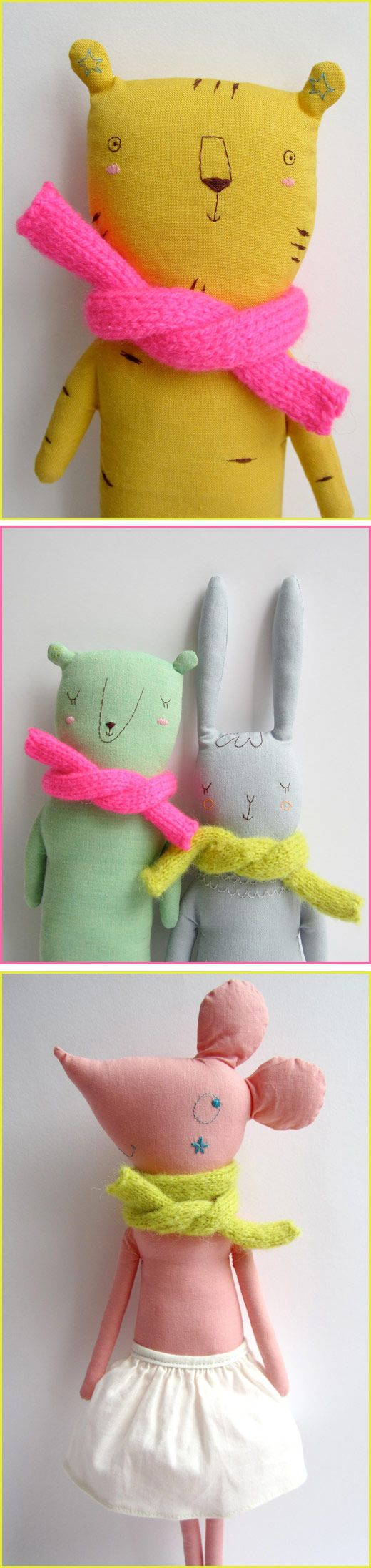 Marina Rachner makes some of the quirkiest softies around town and today I'd like to share a few of my favourites. I love the textured linen fabrics and hand em