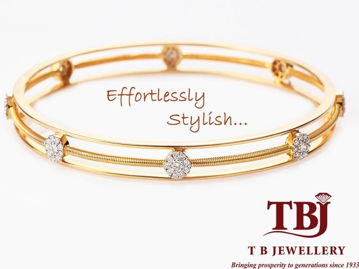 Effortlessly stylish with this Gold and Diamond bangle #Lightweightjewellery #dailywearjewellery #gold #diamondbangle #tbjewellery #goldenmoments #officewear #diamonds #bangle #weddinggift #18kt #girlslovedimonds
