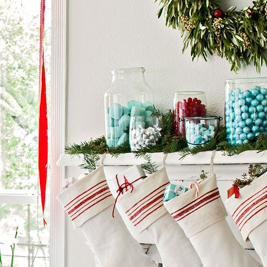 Candy Jar Mantel Decor : Turn your mantelpiece into a festive display of sweet treats. Choose your holiday color scheme and fill clear glass containers with color-coordinated candies. If you don't have a mantelpiece, set the display on a tabletop or anywhere you want an added dose of color.