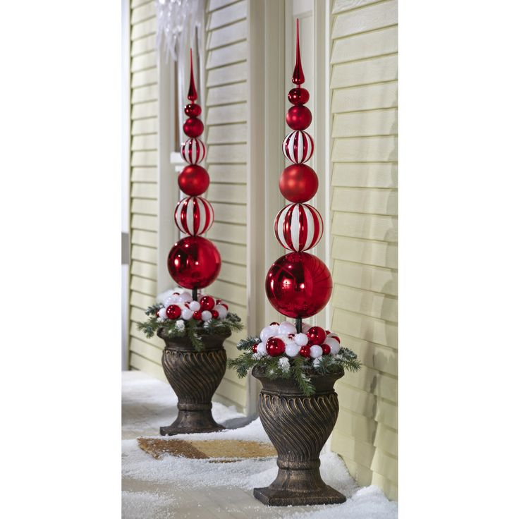 Collections Etc Collections Etc - Red & White Christmas Ornament Ball Finial Topiary Stake - Seasonal - Christmas - Tree Ornamentation