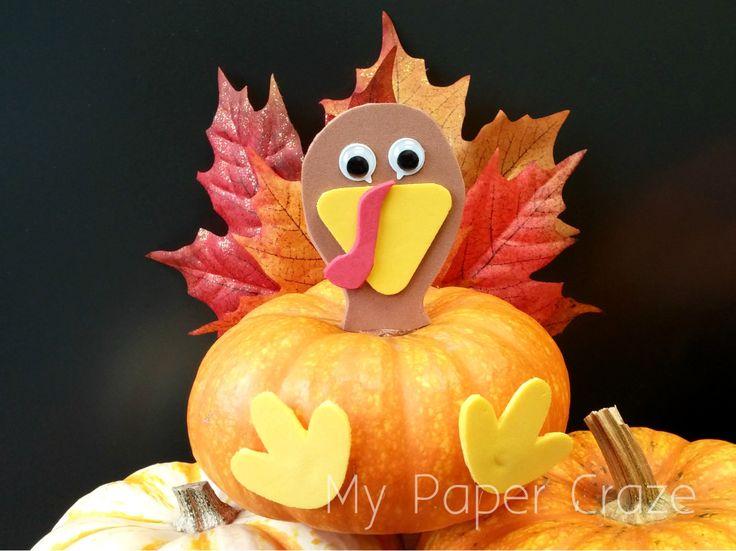 Easy Turkey Pumpkin Craft for Kids at Thanksgiving