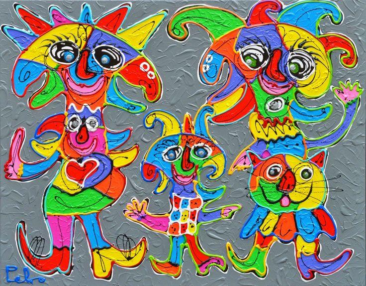 Dit is een: Acrylverf op doek, titel: 'The Happy Family Show' kunstwerk vervaardigd door: Peko