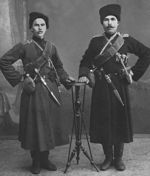 Portrait of two cossacks in service during the First World War, 1914-17