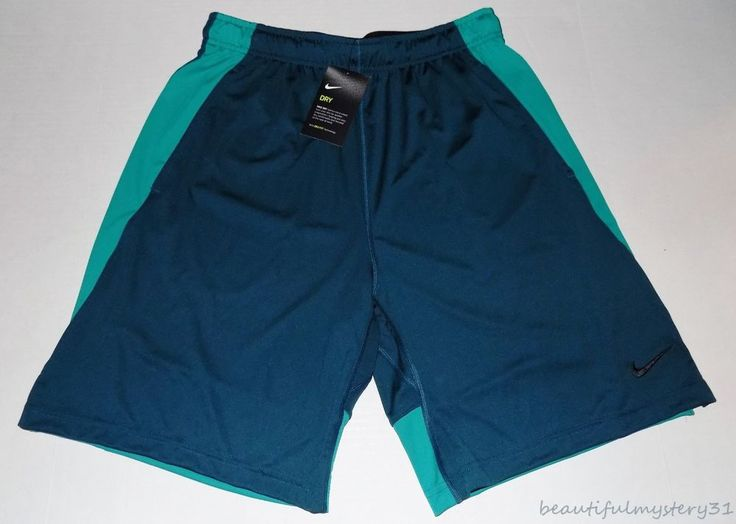 New Nike Dry Teal Dri-Fit Polyester Basketball Gym Training Workout Shorts -L- #Nike #Shorts