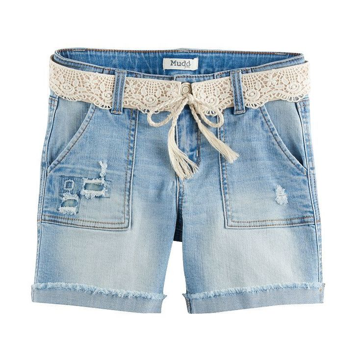 Girls 7-16 & Plus Size Mudd® Crochet Belted Light Wash Denim Midi Shorts, Size: 20 1/2, Light Blue
