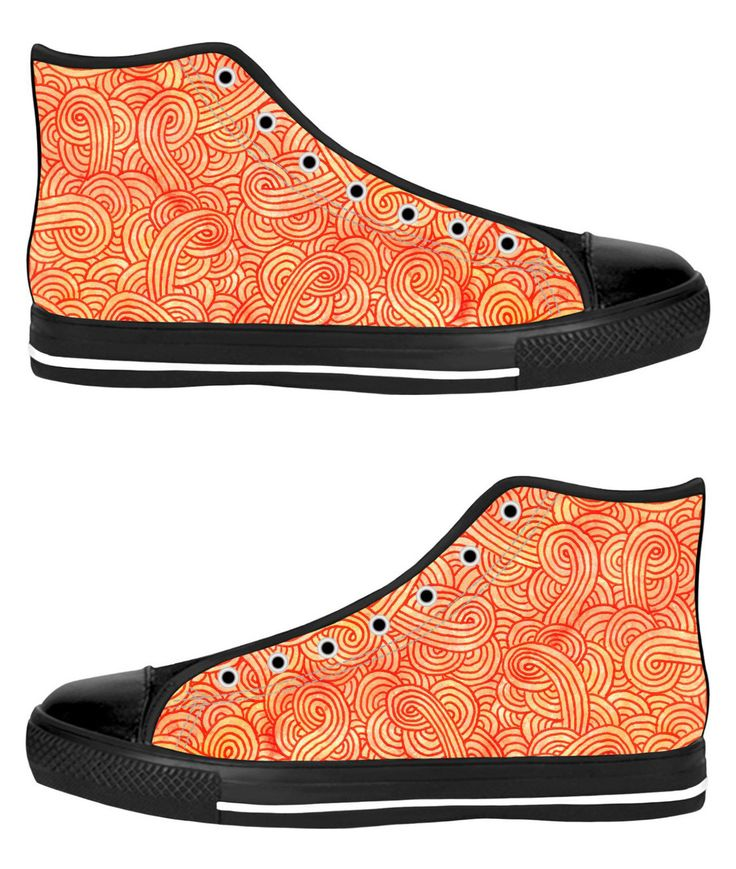 Orange and red swirls doodles Black High Tops Sneakers Shoes by @savousepate on RageOn! #fallcolors #autumncolors