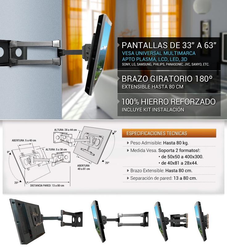 Soporte Lcd 33/37/40/42/46/50/55/62 Hasta 63 Env. Gratis - $ 880,00 en MercadoLibre