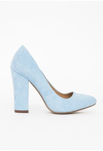 Work some Beauty School Drop Out vibes in these totally chic powder blue court shoes this season. With slip on fit, faux suede fabric covering and chunky block heel these heels ooze femininity.     Approx heel height 10.5cm/4""