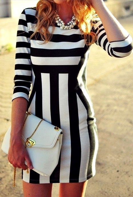 Horizontal stripes to enhance your bust and vertical stripes to add height and slim the waist. Perfect!