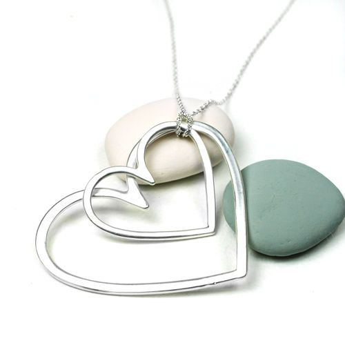 Silver Plated Matt Big Double Heart Long Necklace | eBay
