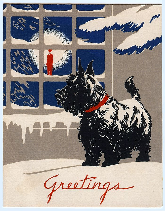 Vintage scotty dog Christmas card