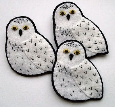 Bugs and Fishes by Lupin: Snowy Owls She has the cutest felt tutorials!!!