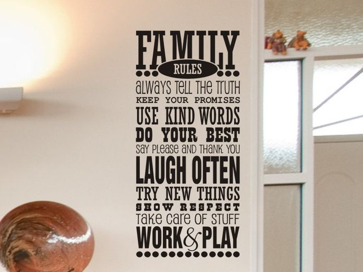 Family Rules Wall Decal - Family Room / Living Room Wall Decor. $20.00, via Etsy.