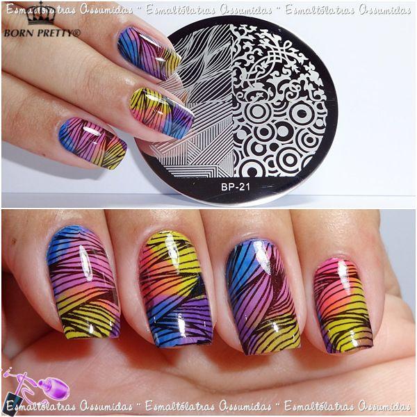 4 Patrones Mixtos Nail Art Sello Plantilla Placa de la Imagen NACIDO PRETTY BP21
