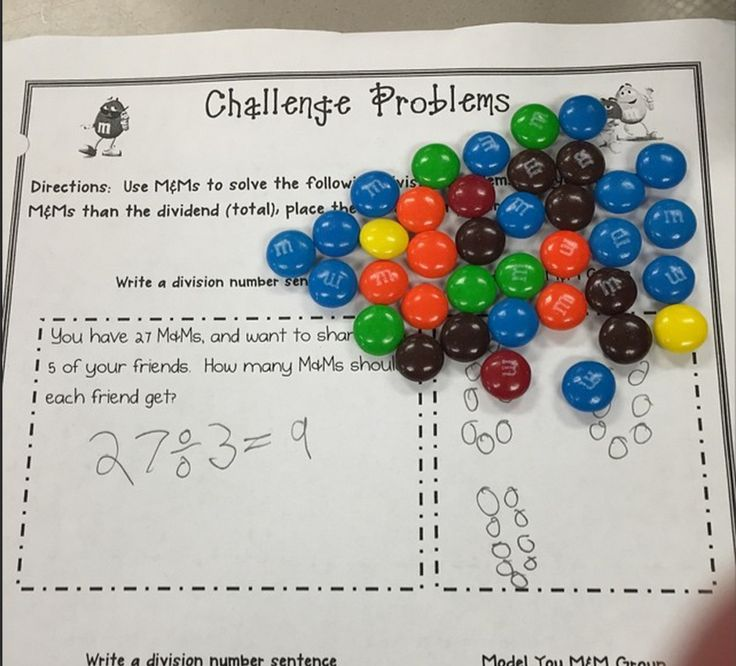 Representing Division-fun division activities with M&Ms or Skittles!