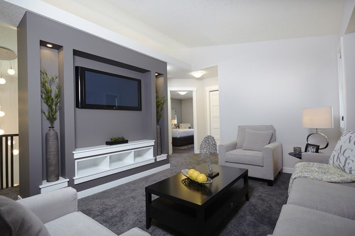 Bonus room in the Tofino II showhome in Hillcrest in Airdrie by Shane Homes.