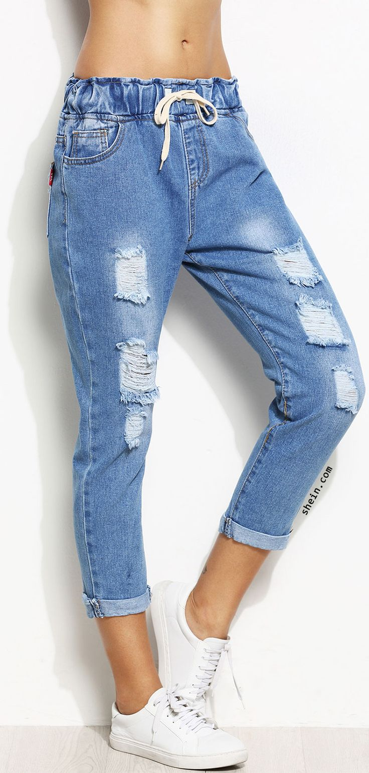 Distressed Rolled Hem Drawstring Jeans ✱Despite that there's a lot of crotch in these?? They are adorable!